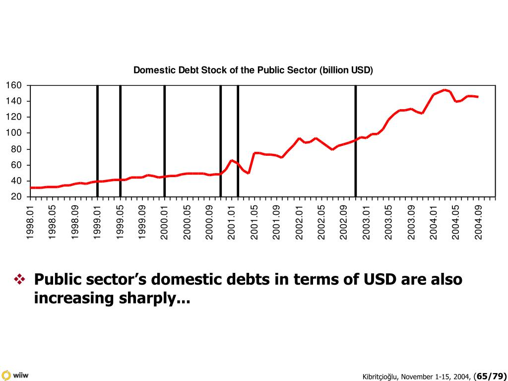 Public sector's domestic debts in terms of USD are also increasing sharply...