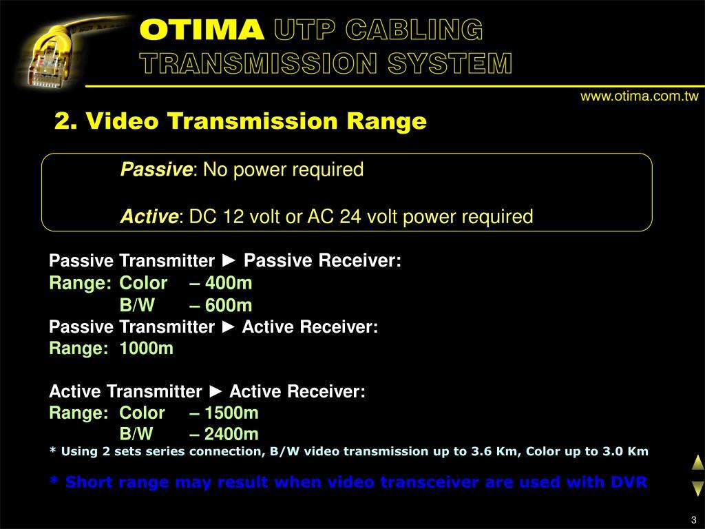 2. Video Transmission Range