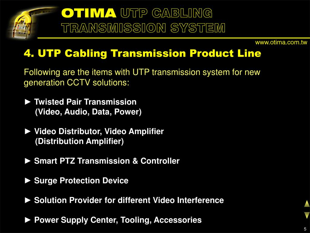 4. UTP Cabling Transmission Product Line