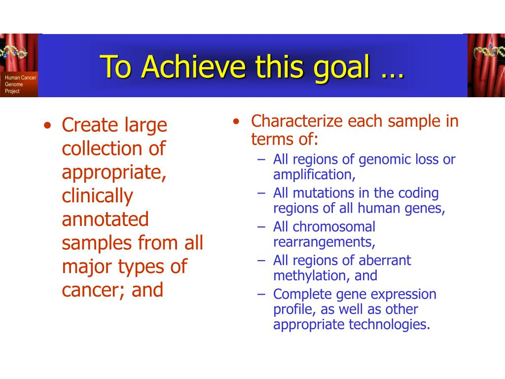 Create large collection of appropriate, clinically annotated samples from all major types of cancer; and