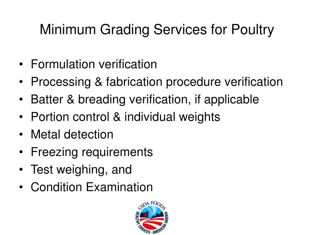 Minimum Grading Services for Poultry