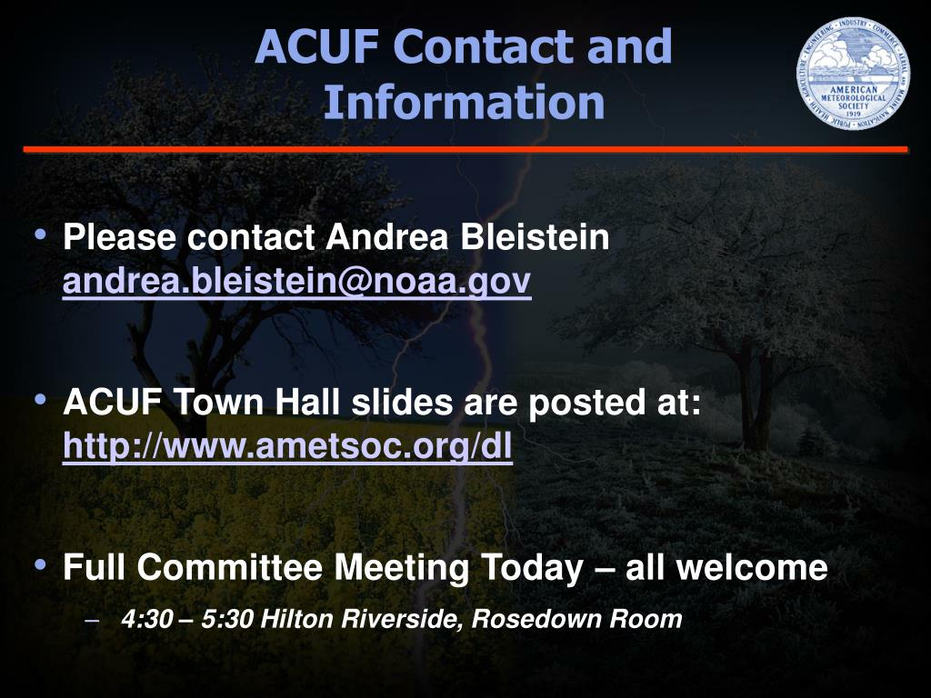 ACUF Contact and             Information