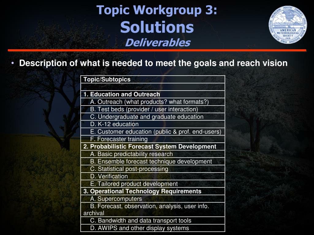 Topic Workgroup 3: