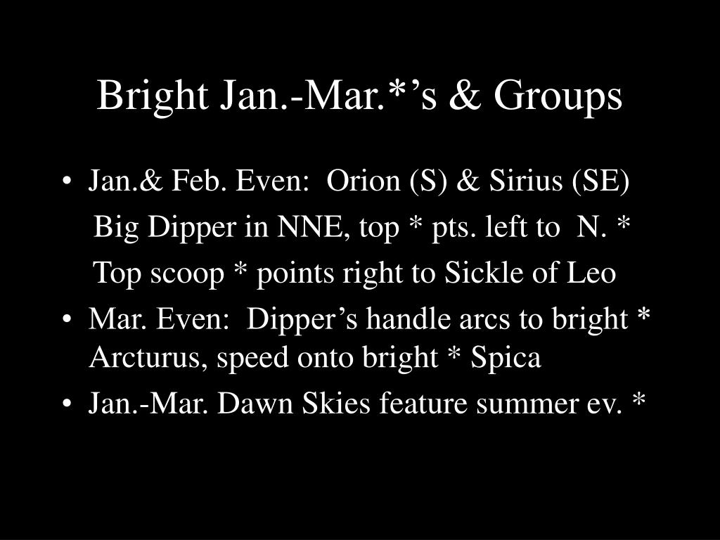Bright Jan.-Mar.*'s & Groups