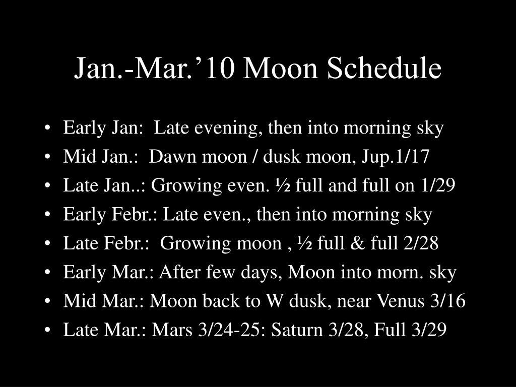 Jan.-Mar.'10 Moon Schedule