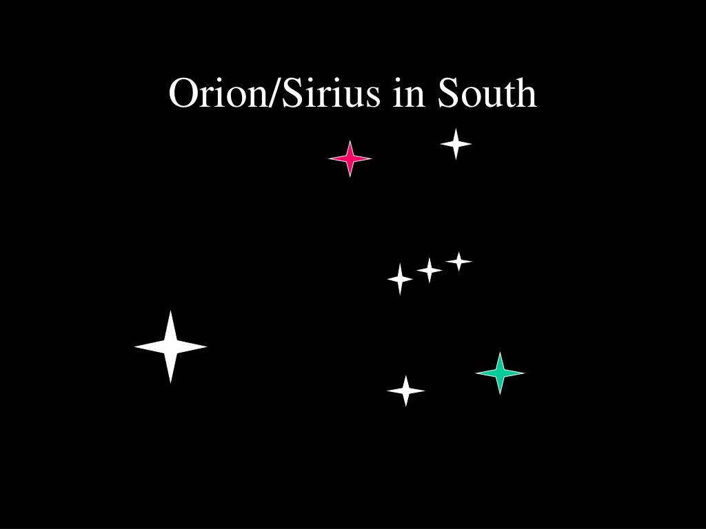 Orion/Sirius in South