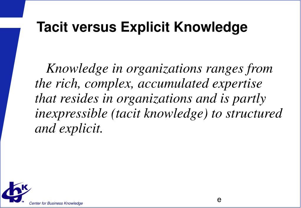Tacit versus Explicit Knowledge