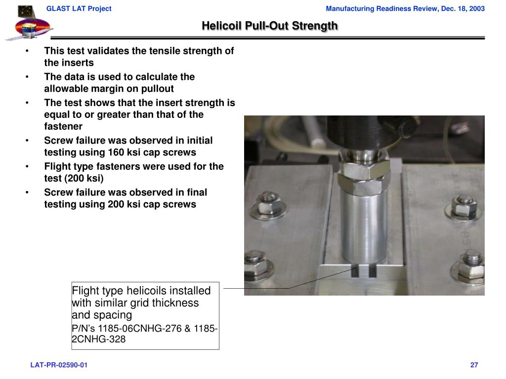 Helicoil Pull-Out Strength