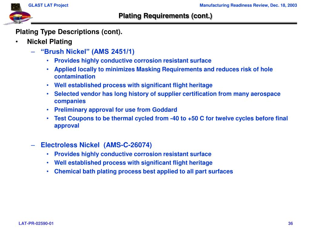 Plating Requirements (cont.)