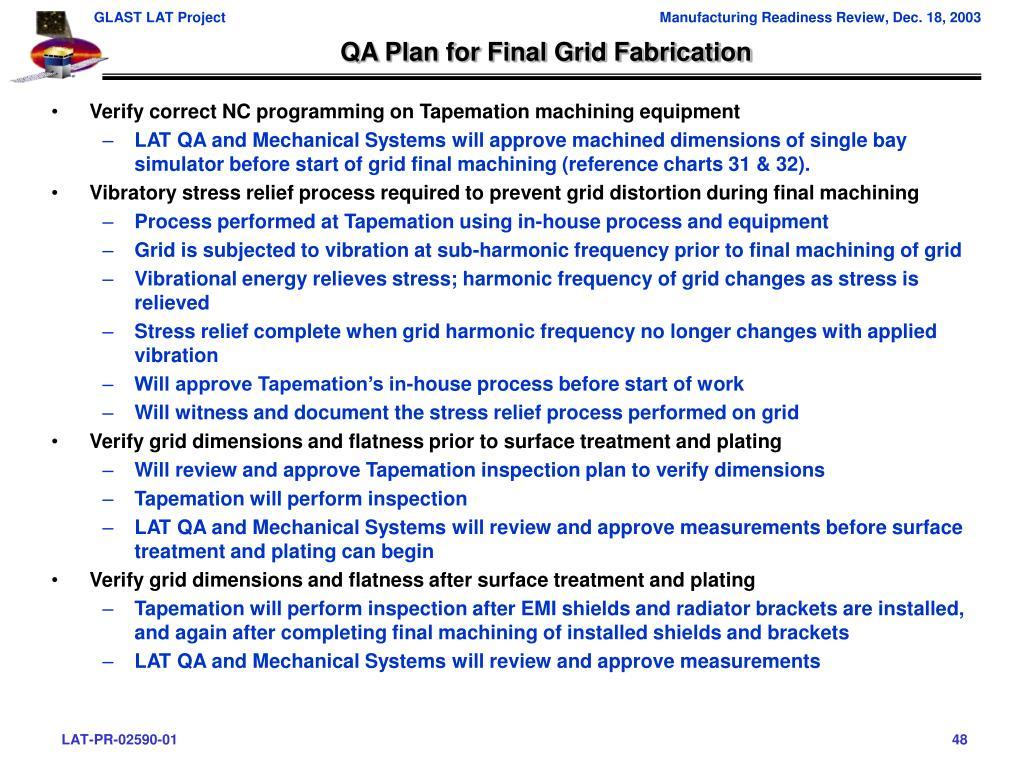 QA Plan for Final Grid Fabrication
