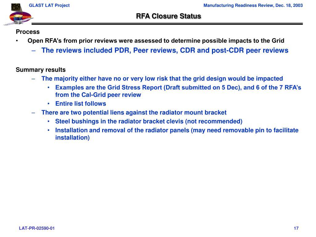 RFA Closure Status