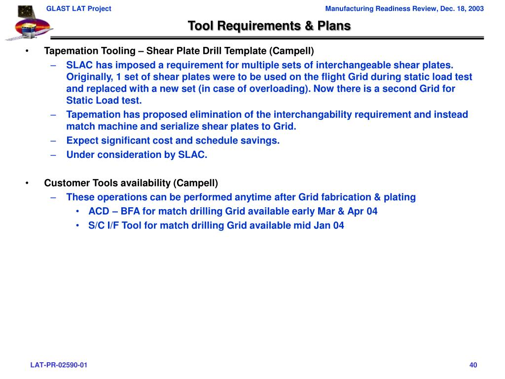 Tool Requirements & Plans