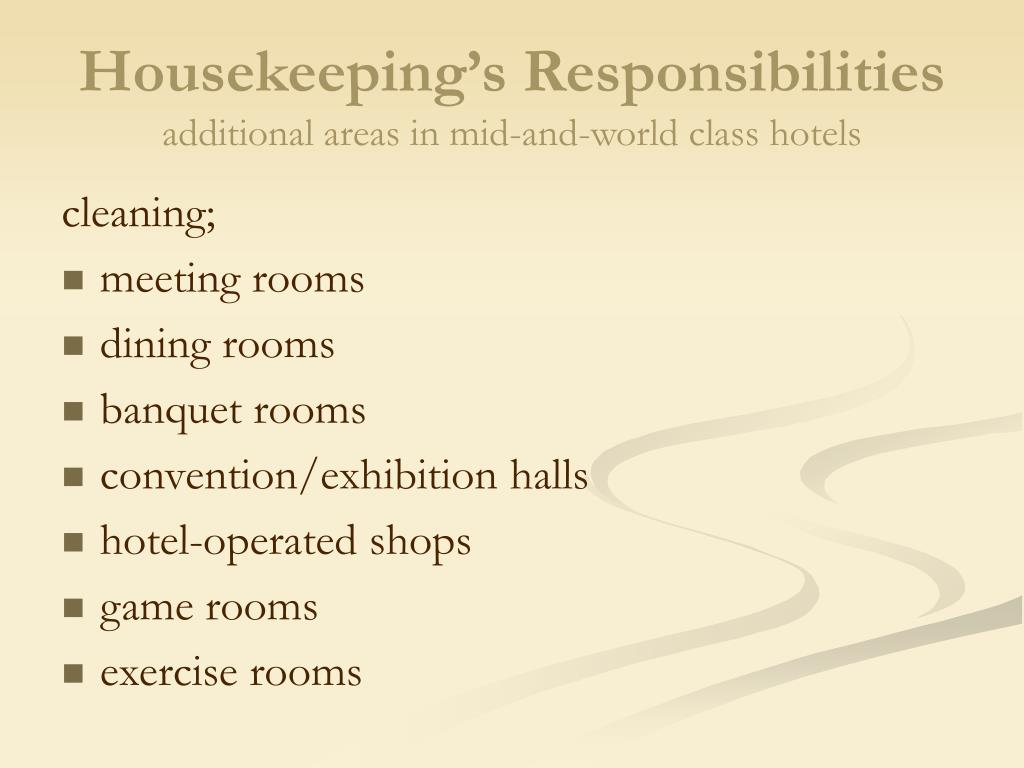 ppt chapter 3 powerpoint presentation id 162329 housekeeping s responsibilities - Housekeeping Responsibilities