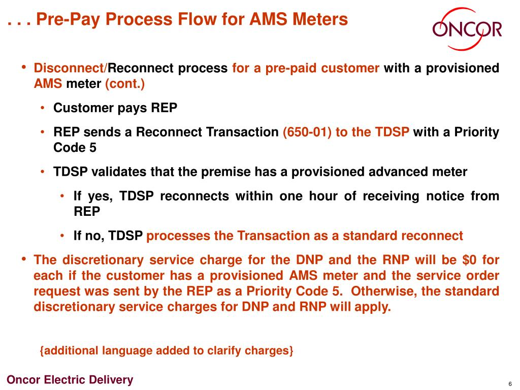. . . Pre-Pay Process Flow for AMS Meters