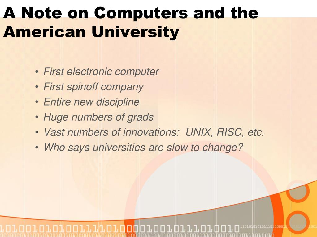 A Note on Computers and the American University