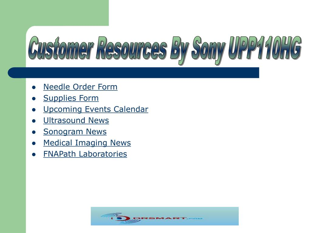 Customer Resources By Sony UPP110HG