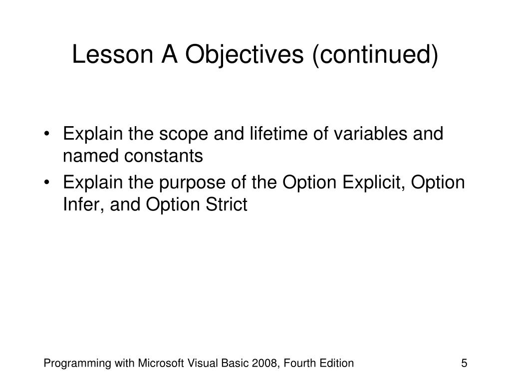 Lesson A Objectives (continued)