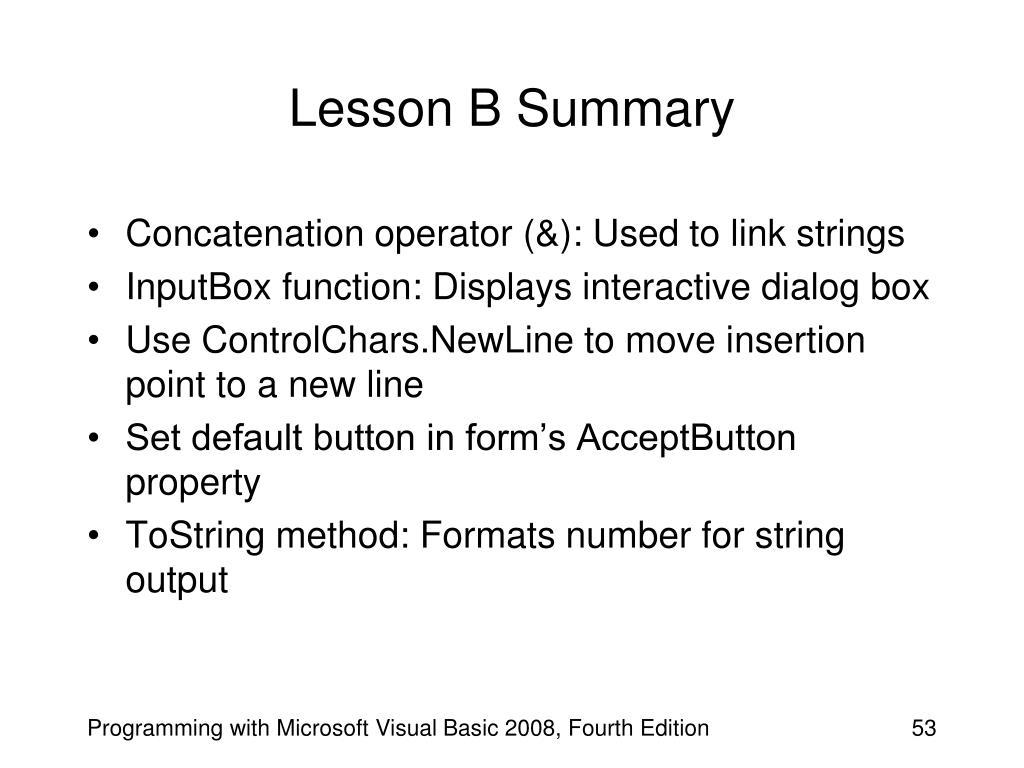 Lesson B Summary