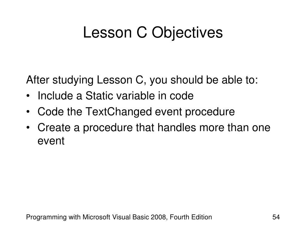 Lesson C Objectives