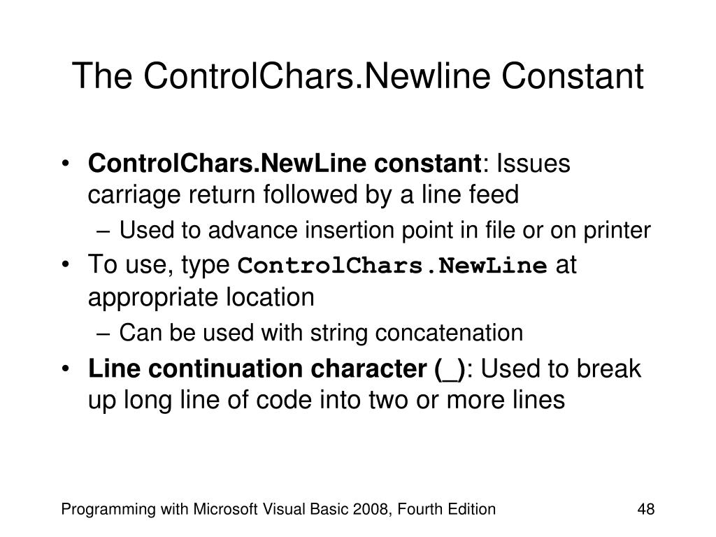 The ControlChars.Newline Constant