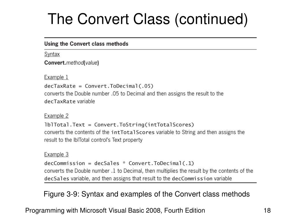The Convert Class (continued)