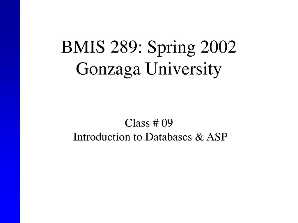 BMIS 289: Spring 2002