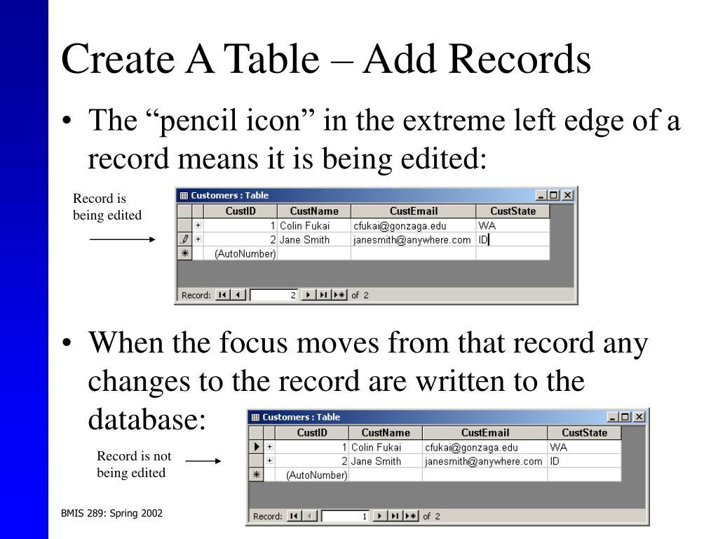 Create A Table – Add Records