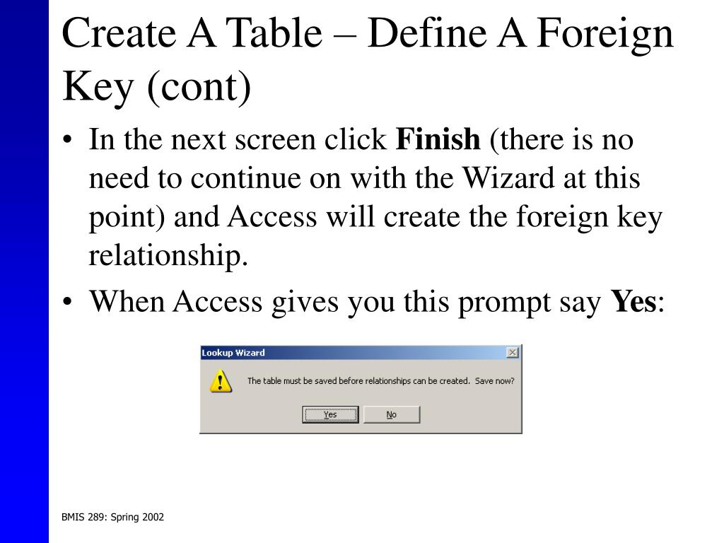 Create A Table – Define A Foreign Key (cont)