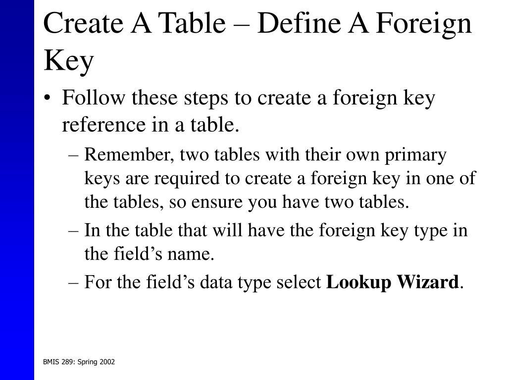 Create A Table – Define A Foreign Key
