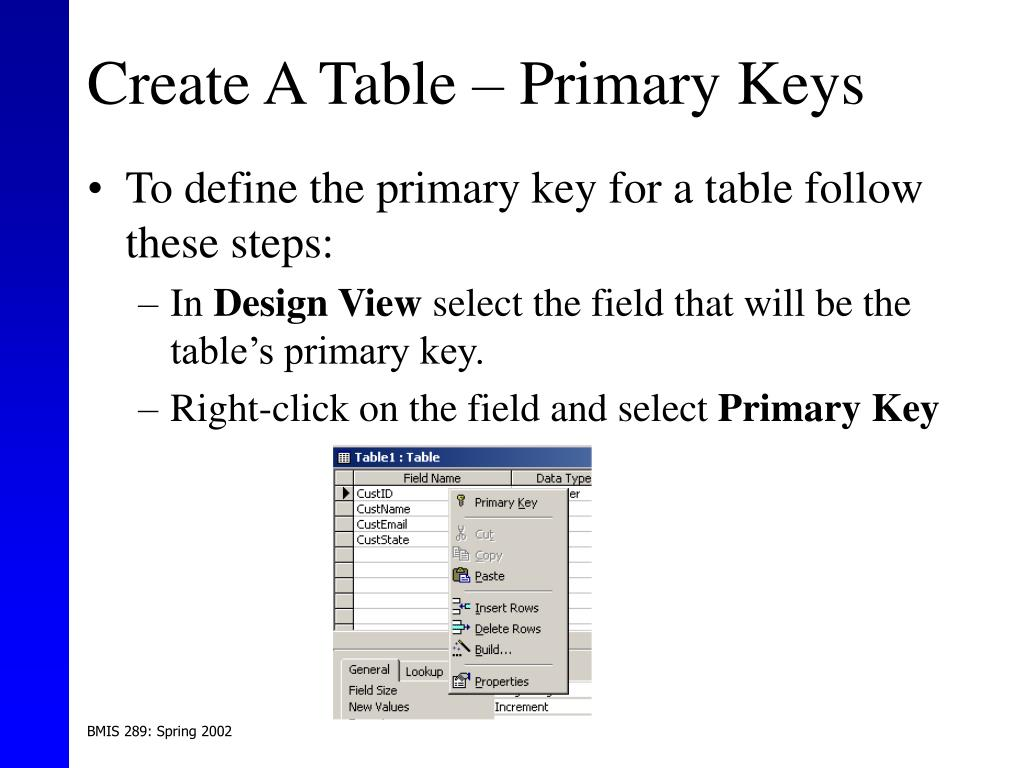 Create A Table – Primary Keys