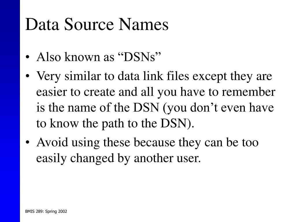 Data Source Names