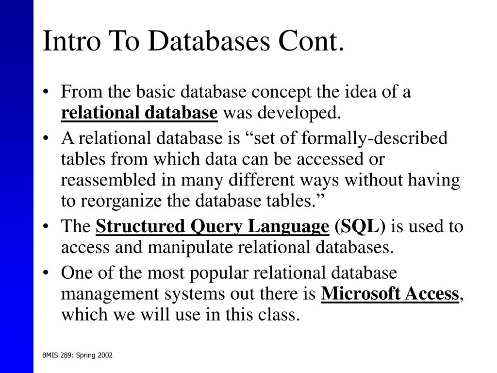Intro To Databases Cont.