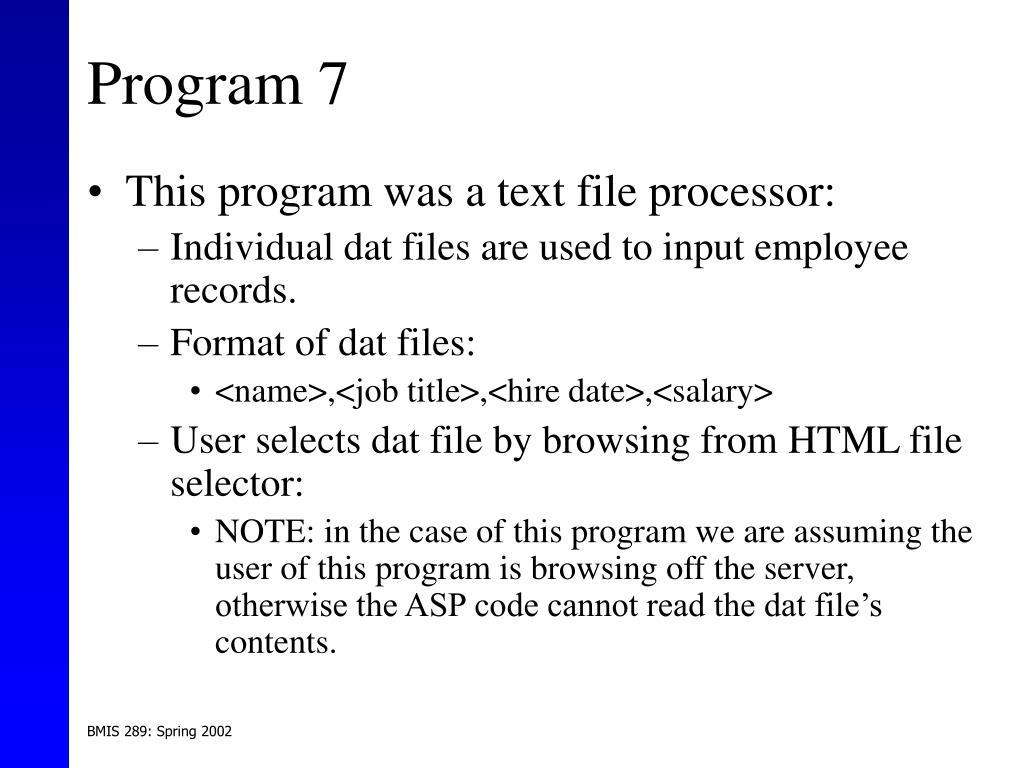 Program 7