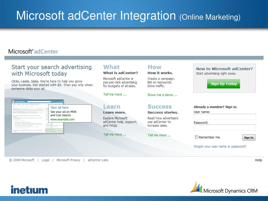 Microsoft adCenter Integration