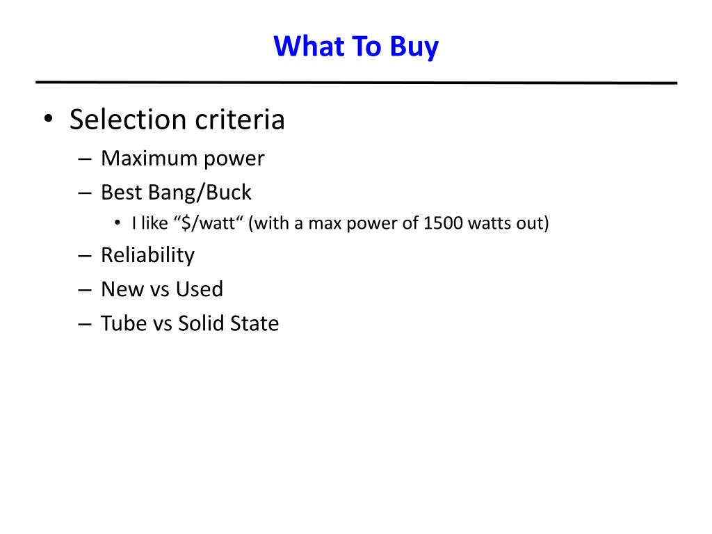 What To Buy