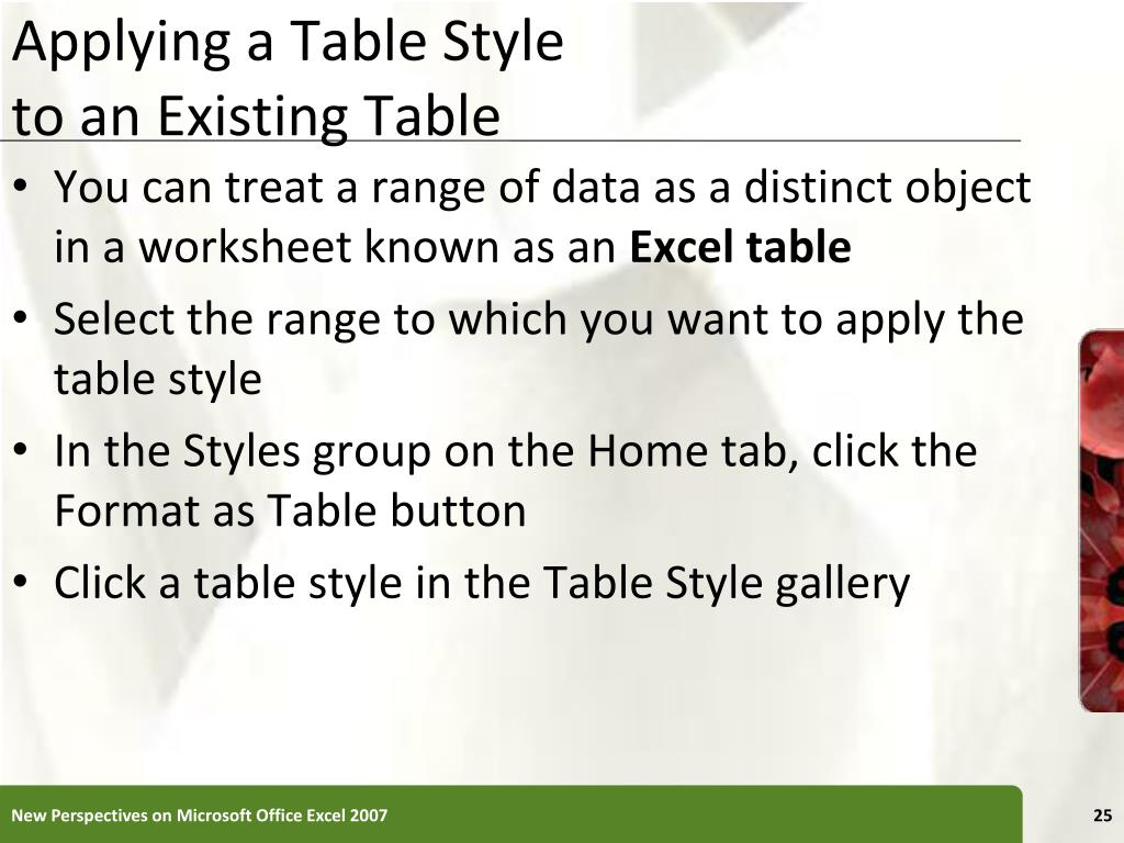 Applying a Table Style