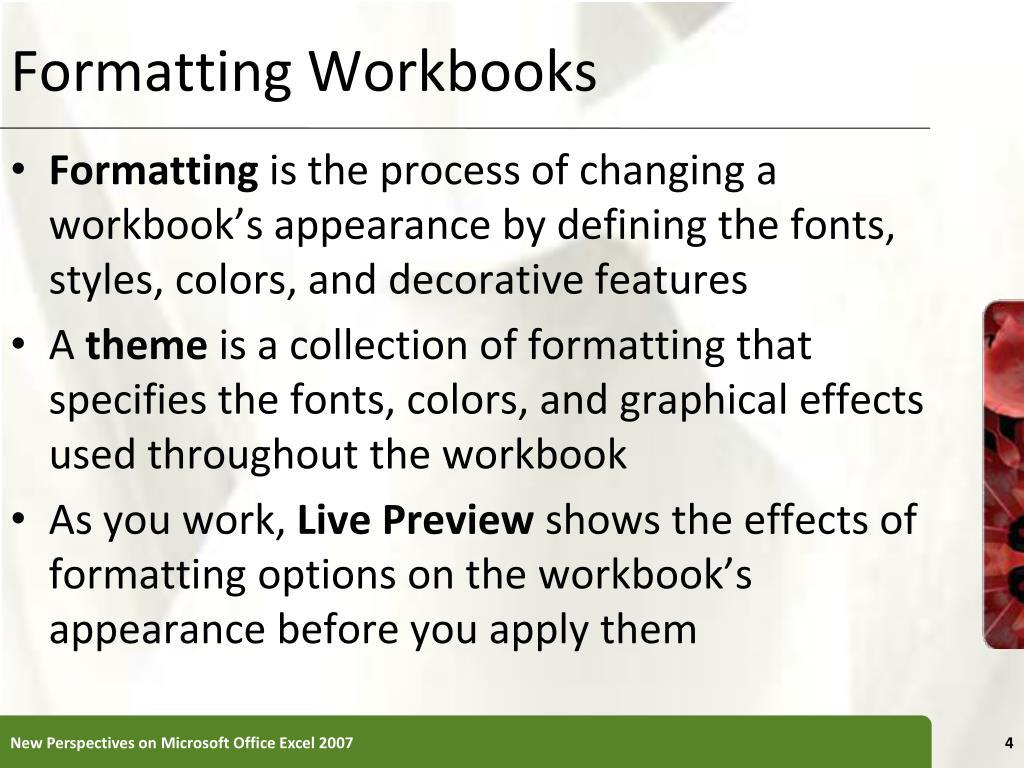 Formatting Workbooks
