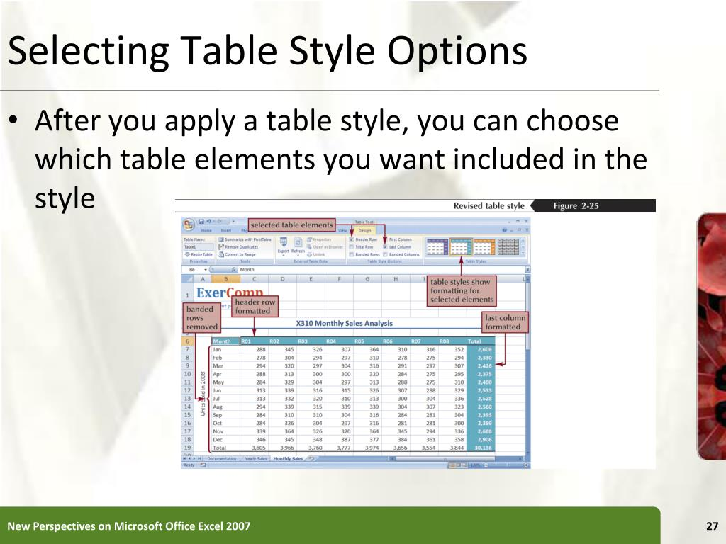 Selecting Table Style Options