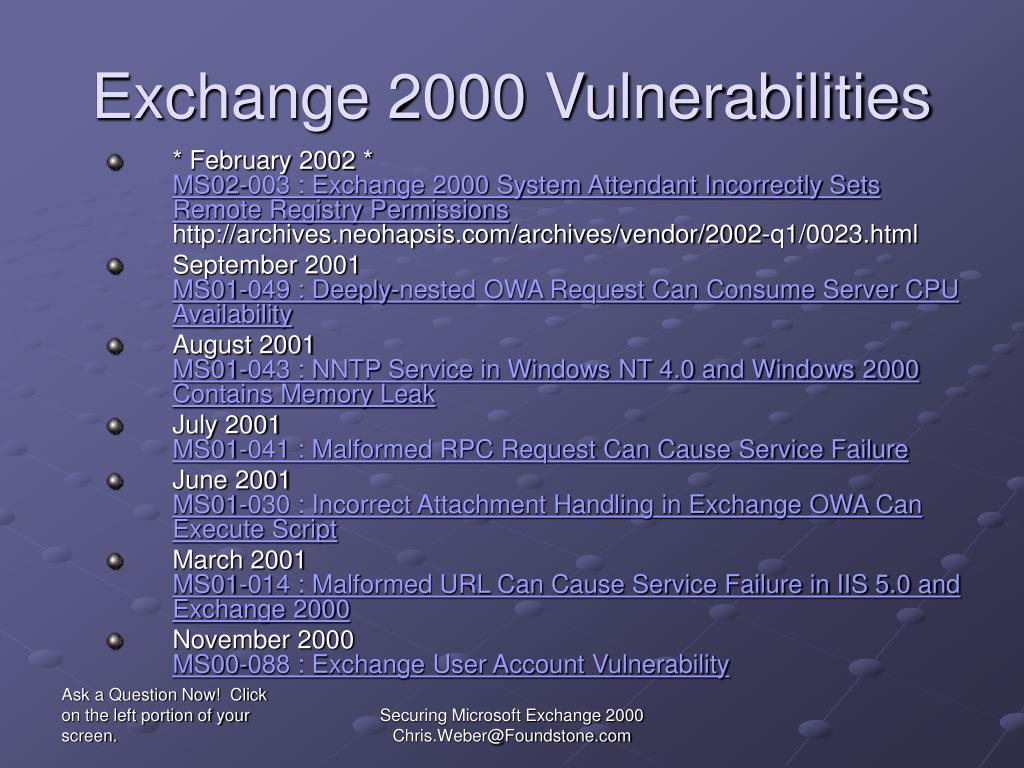 Exchange 2000 Vulnerabilities