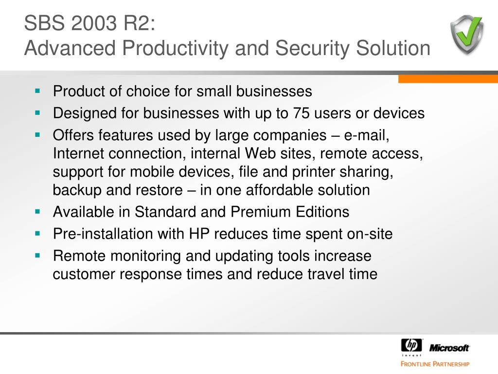 SBS 2003 R2: