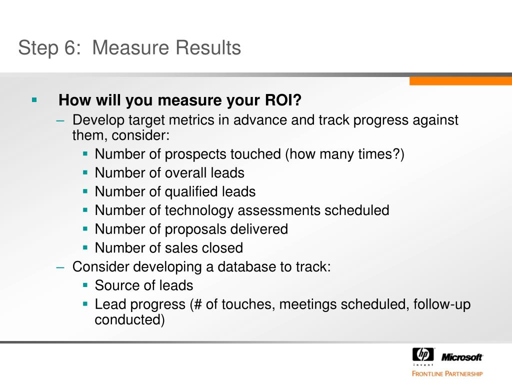 How will you measure your ROI?