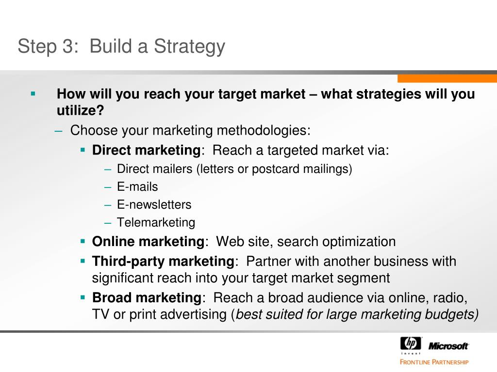 Step 3:  Build a Strategy