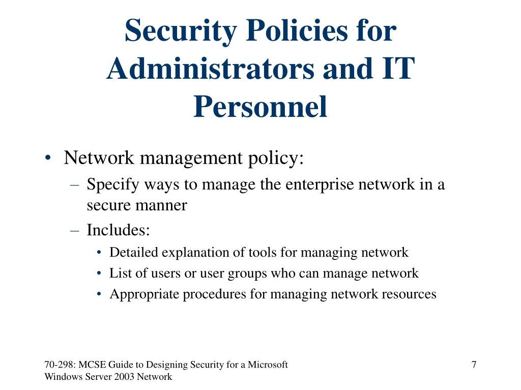 Security Policies for Administrators and IT Personnel