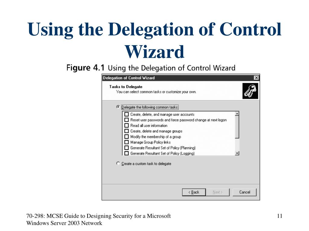 Using the Delegation of Control Wizard