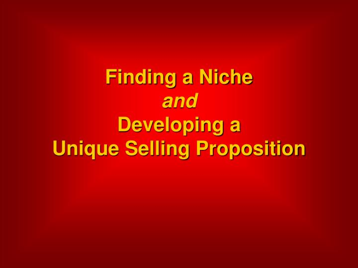 Finding a niche and developing a unique selling proposition