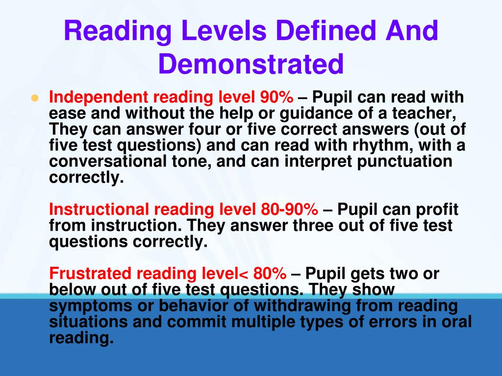 Reading Levels Defined And Demonstrated