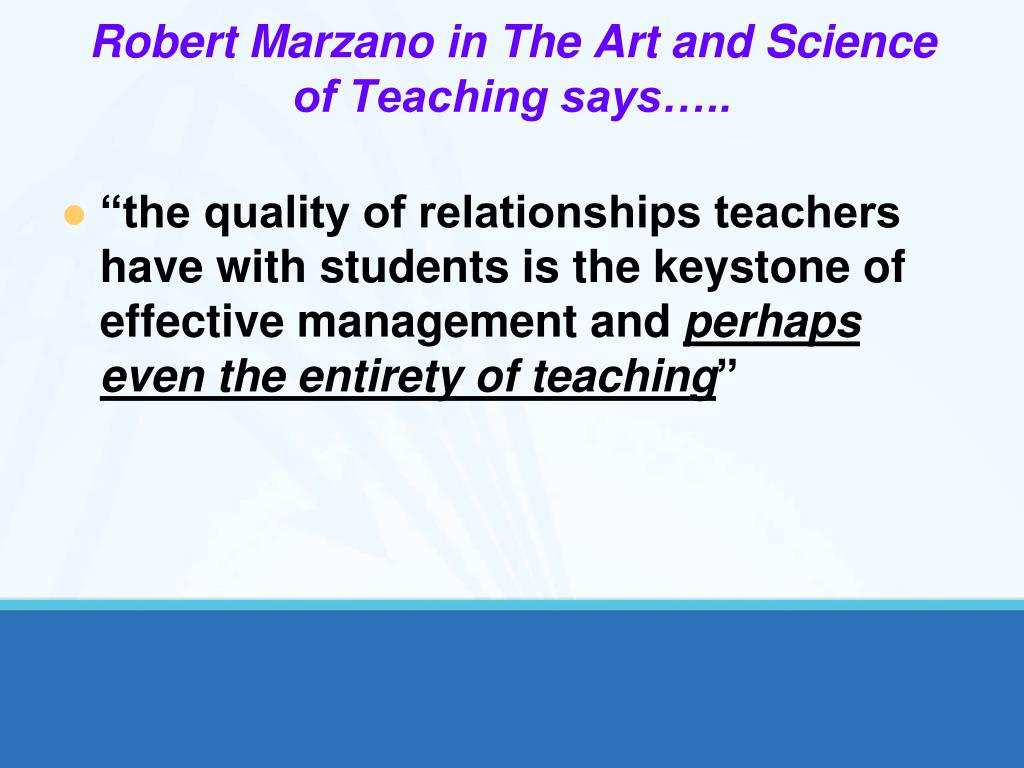Robert Marzano in The Art and Science of Teaching says…..