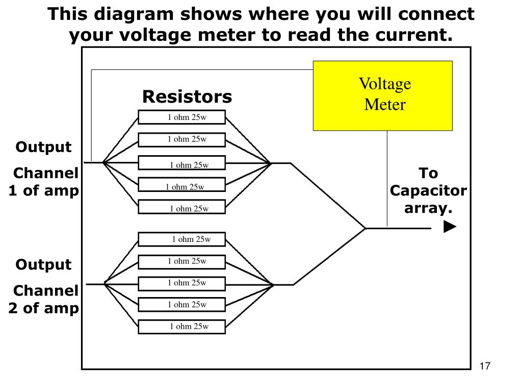 This diagram shows where you will connect your voltage meter to read the current.