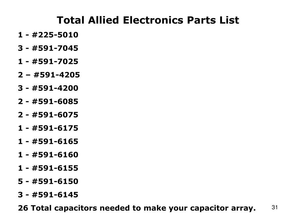 Total Allied Electronics Parts List