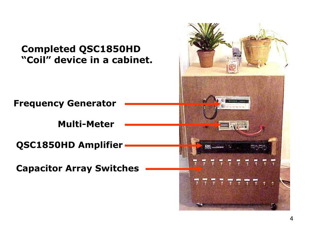 """Completed QSC1850HD """"Coil"""" device in a cabinet."""